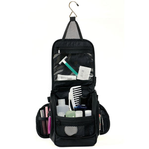 Compact Hanging Toiletry Bag & Organizer Water Resistant with Mesh Pockets and Sturdy Hook - Black