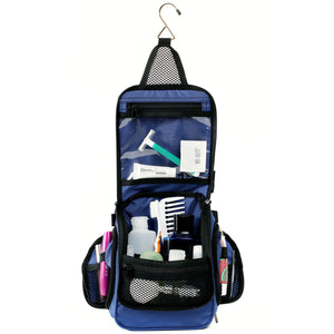 Compact Hanging Toiletry Bag & Organizer Water Resistant with Mesh Pockets and Sturdy Hook - Blue