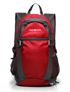 Foldable Nylon Backpack/Daypack with Security Zippers, 20L, Red