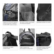 Foldable Nylon Backpack/Daypack with Security Zippers, 20L, Black