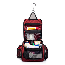 Medium Size Hanging Toiletry Bag with Detachable TSA Compliant Zipper Pocket & Swivel Hook - Red