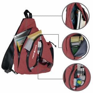 Versatile Canvas Sling Bag Backpack with RFID Security Pocket and Multi Compartments- Rustic