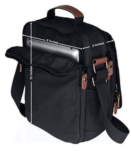 Vintage Vertical Canvas Messenger Bag Black with Anti-theft Pocket - Black