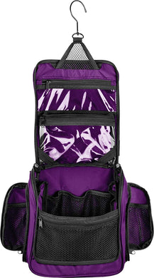 Medium Size Hanging Toiletry Bag with Detachable TSA Compliant Zipper Pocket & Swivel Hook- Purple