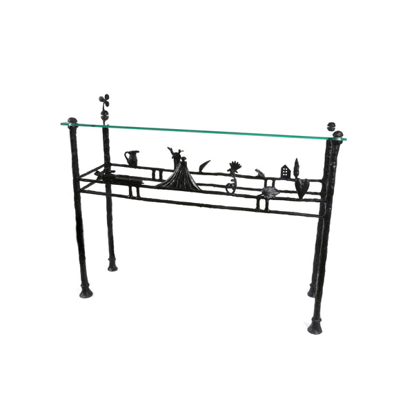 Dibble Studio Bronze and Glass console table
