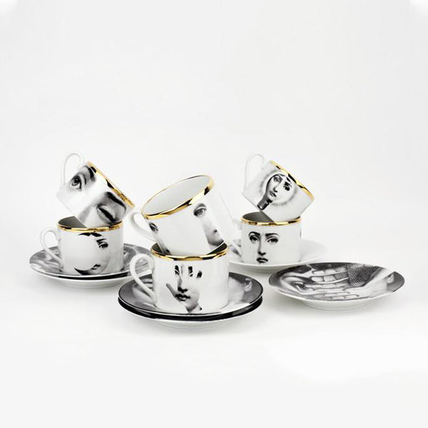 Fornasetti Set of 6 Cups and Saucers