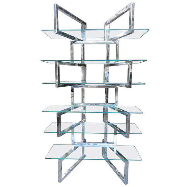 1970 Chrome and Glass Etagere