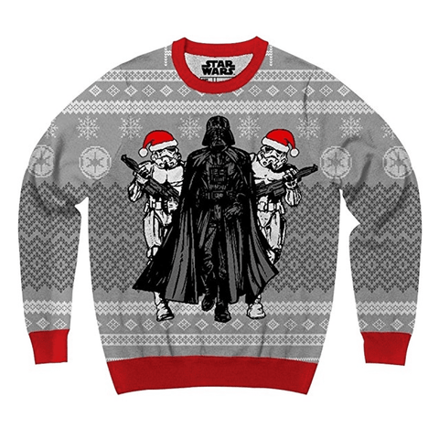darth vader and santa hat stormtroopers ugly christmas sweater