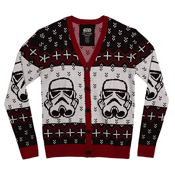 6af327575e Holiday Star Wars Stormtrooper Button-Up Cardigan Sweater
