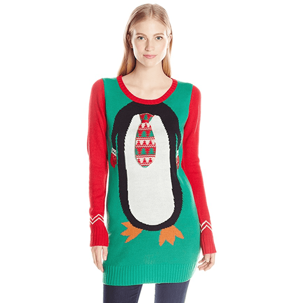 mr penguin ugly christmas sweater juniors tunic