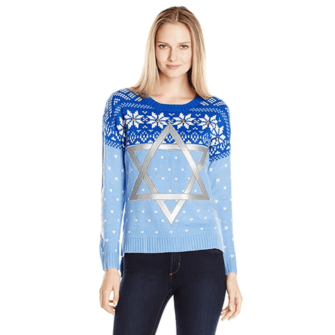 Women's Star of David Chanukah Sweater with Jingle Bells
