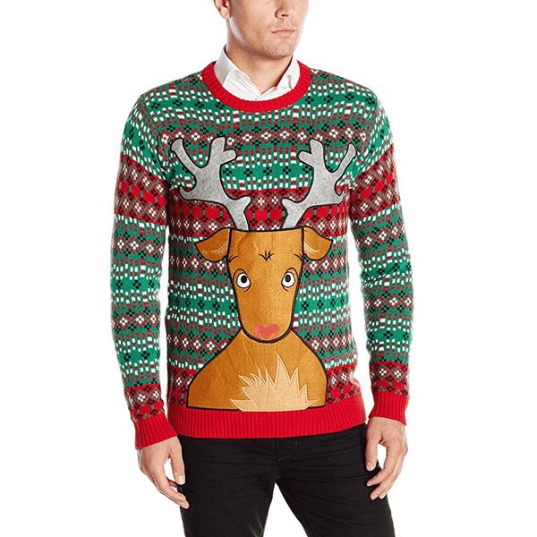 Christmas Drinking Sweater with Rudolph Beer Pocket