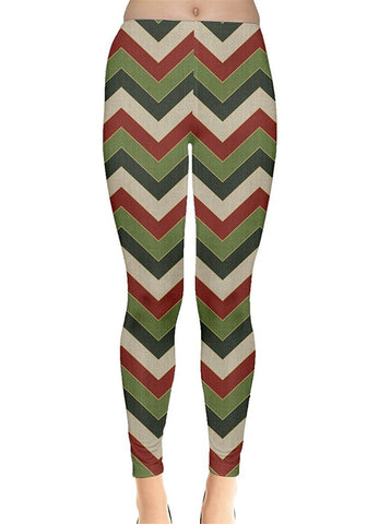 Green Chevron Christmas Leggings