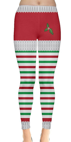 Festive Stripes Christmas Leggings