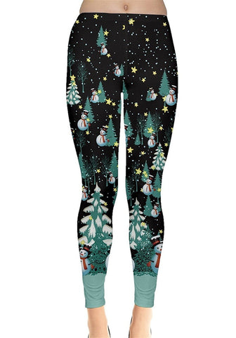 Midnight Snow Christmas Leggings