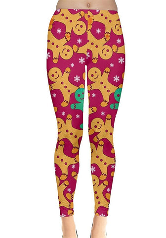 Hot Pink Gingerbread Christmas Leggings