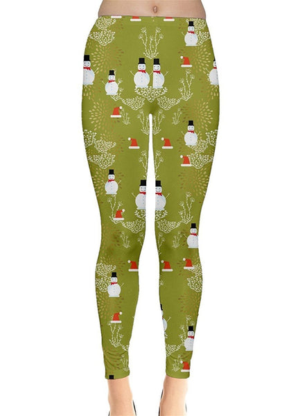 Olive Snowman Christmas Leggings