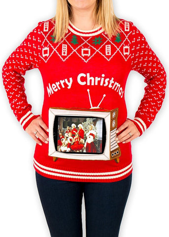 Women's Retro TV with iPad Pouch Christmas Sweater