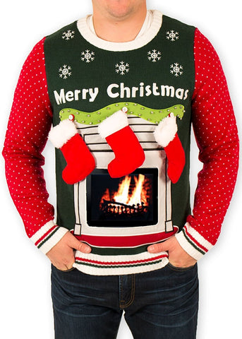 Men's Fireplace with iPad Pouch Ugly Christmas Sweater
