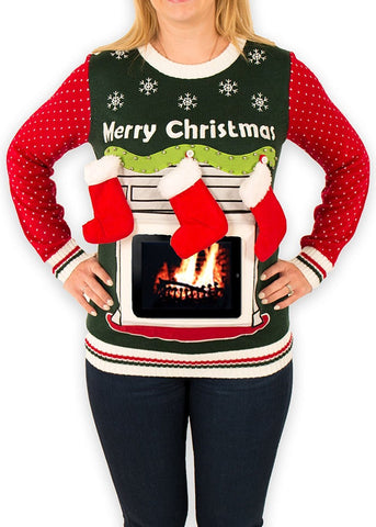 Women's Fireplace with iPad Pouch Ugly Christmas Sweater