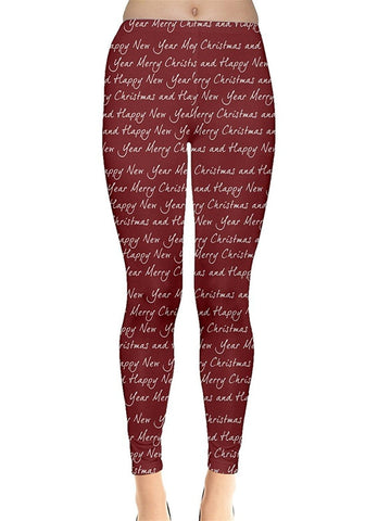 Holiday Greeting Christmas Leggings