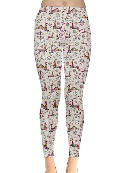 Rainbow Reindeer Christmas Leggings