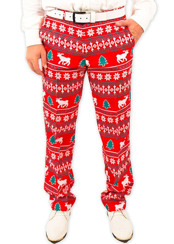 Festive Reindeer Christmas Suit Pants
