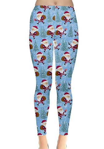 Santa Snow Christmas Leggings