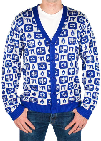 Men's Elegant Chanukah Cardigan Christmas Sweater