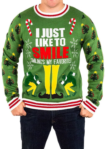 Men's Elf Likes to Smile Ugly Christmas Sweater
