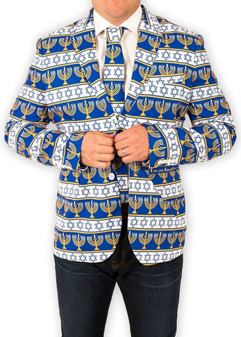 Chanukah Menorah Hanukkah Suit Coat and Tie
