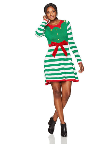 Women's Elf Stripe Christmas Dress