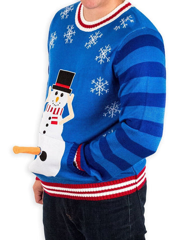 Men's Playful Naughty Snowman Christmas Sweater