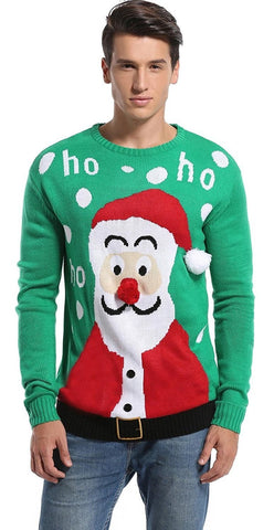 Ho Ho Santa's Nose Ugly Christmas Sweater