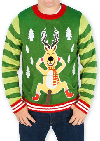 Men's Playful Naughty Reindeer Christmas Sweater