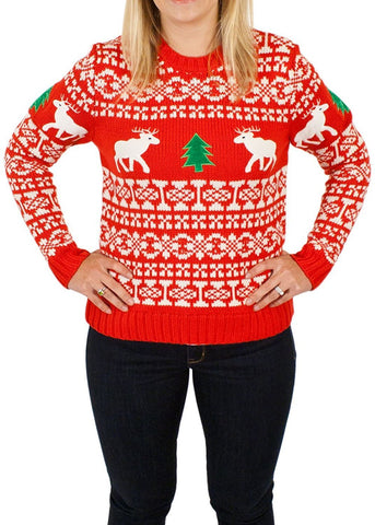 Women's Holiday Reindeers Ugly Christmas Sweater