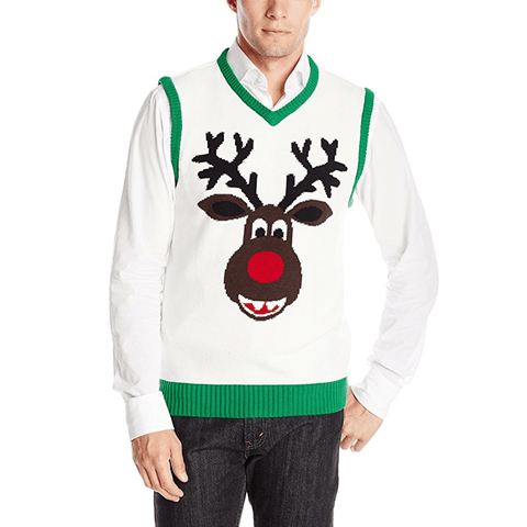 Rudolph Reindeer Head Christmas Sweater Vest