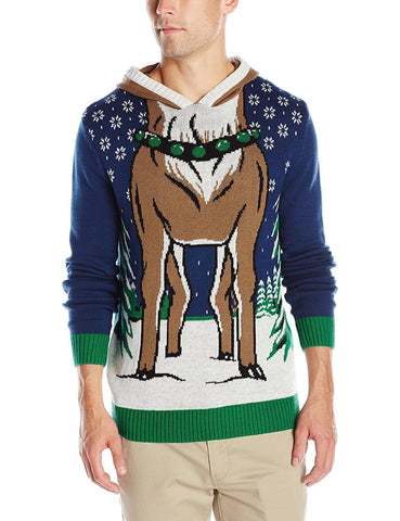 Hooded Reindeer Christmas Sweater
