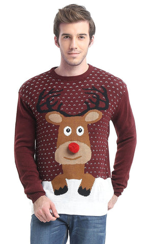 Rudolph the Pom Pom Nosed Reindeer Christmas Sweater