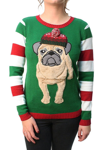 Women's 3D Pug Beanie Sweater