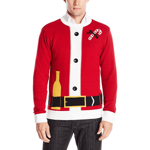 Santa Bottle Belt Ugly Christmas Sweater