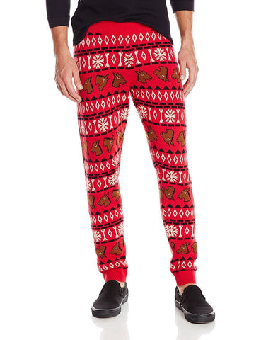 Horse Head Patterned Christmas Jogger Pants