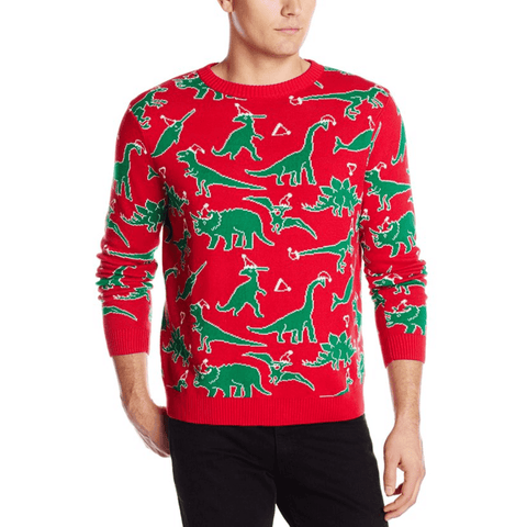 Chaotic Dinosaurs Ugly Christmas Sweater