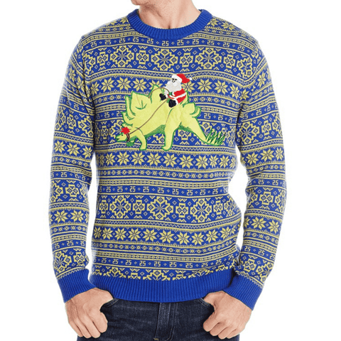 Dinosaur-Riding Santa Sweater