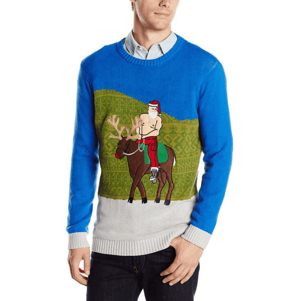 Sun's Out Guns Out Santa Bareback Sweater