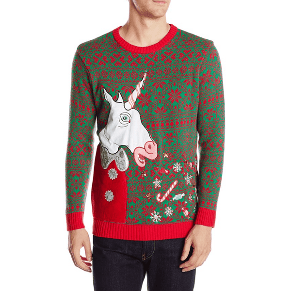 Too Much Candy Puking Unicorn Light Up Sweater
