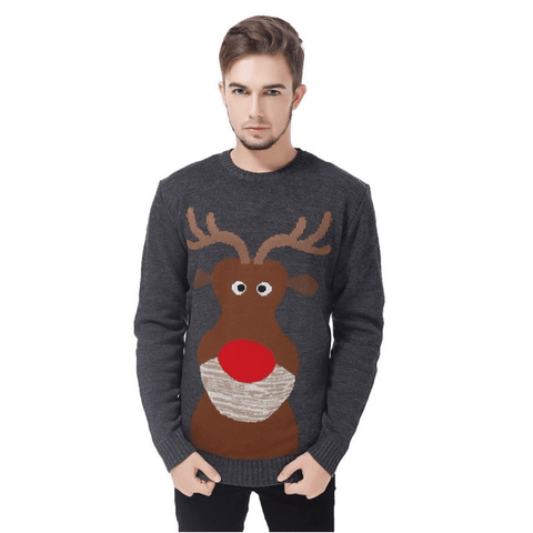 Close Up Reindeer Ugly Christmas Sweater