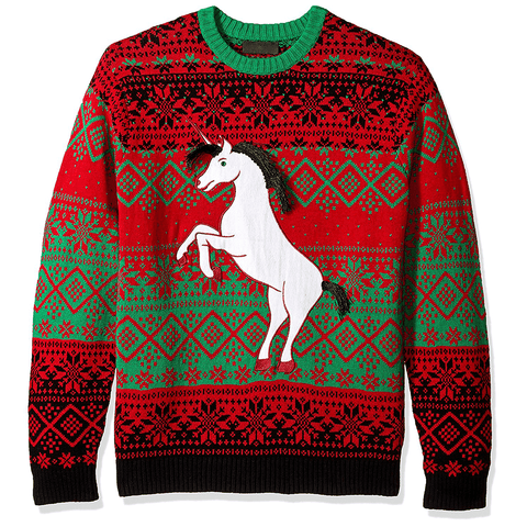 Black Hair Unicorn Festive UNISEX Sweater