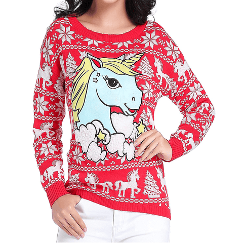 Festive Unicorn Christmas Sweater - Juniors