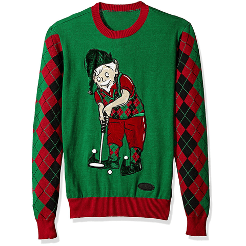 Elf Playing Golf Ugly Christmas Sweater